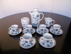 Gyönyörű Hollóházi porcelán hagyma mintás hibátlan kávéskészlet