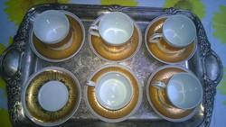 Arannyal festett mokkáscsésze-kávéscsésze Hollóháza
