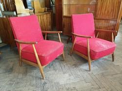 Retro régi fakarfás fotel mid century