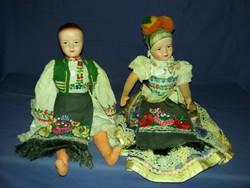 Antik porcelánmázas masé fejű népviseletes rongy testű Matyó Baba pár