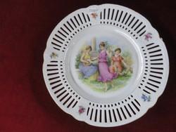Schuman Bavaria porcelán, antik süteményes készlet. Áttört szélű.