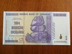Zimbabwe 10 Milliárd (10.000.000.000) Dollar UNC 2008