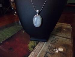 Ezüst nyaklánc szivárvány holdkő medállal