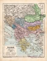 Balkán térkép 1885, eredeti, német nyelvű, osztrák atlasz, Kozenn, Görögország, Törökország, Szerbia