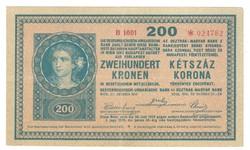 "200 korona 1918 ""B"" sorozat 3. Nagyon ritka"