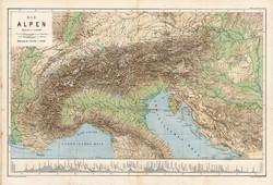 Alpok térkép 1885, eredeti, német nyelvű, osztrák atlasz, Kozenn, Európa, hegy, vízrajz, 42 x 62 cm