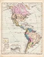 Amerika térkép 1885, eredeti, német nyelvű, osztrák atlasz, Kozenn, észak, közép, dél, kontinens