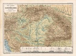 Kárpátok térkép 1885, eredeti, német nyelvű, osztrák atlasz, Kozenn, hegy, vízrajz, Magyarország