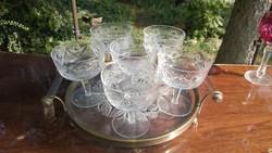 Pezsgős kristály talpas pohár készlet 5+1 db szájátm. 97 mm