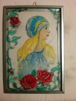 Üvegkép, üvegfestmény, festett üveg női rózsás-romantikus