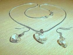 Szív kristály ezüst - fehérarany Nyaklánc + ajándék Fülbevaló