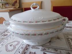 Rózsagirlandos csavart fogantyújú porcelán leveses tál