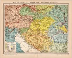 Osztrák - Magyar Monarchia etnográfiai térkép 1899, német nyelvű, eredeti, Brockhaus, néprajz, nép