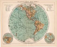 Nyugati félteke térkép 1894, német nyelvű, eredeti, Brockhaus, világtérkép, világ, Amerika, félgömb