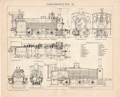 Mozdony I., II., III., egyszínű nyomat 1894, német, eredeti, Brockhaus, vasút, gőz, gőzmozdony, sín