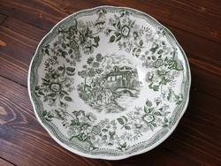 Flowers angol romatikus jelenetes porcelán falitál zöld fehér hibátlan dísztányér
