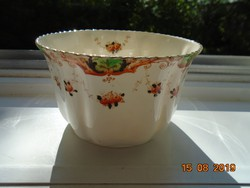 Antik BEST ENGLISH CHINA(a legjobb angol finom porcelán)kézzel festett cakkos aranyozott cukortartó