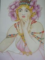 Nagyon szép, selyemre festett szessziós kép (Mucha) keretben