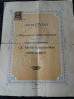 Bizonyítvány Felsőbb  Leányiskola Temesvárott 1906