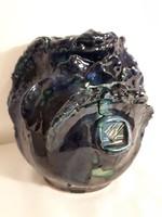 Kék jelzett kerámia váza