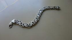 Ezüst különleges lapos KŐNIG, (Király)  fazonú karlánc karkötő. 925 ös