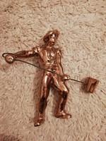 Retro bronz öntödei munkás szobor