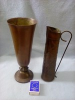 2 darab vörösrézzel bevont sárgaréz váza és kiöntő