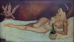 Fekvő női akt, olajfestmény