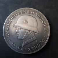 Német birodalmi 14.páncélos hadosztály emlékérem. 5cm átmérő!!.Hatalmas