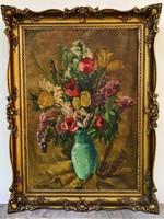 Radnay - Rózsay Miklós (1900-1945) Virágcsendélet 1938 olajfestménye 120x90cm EREDETI GARANCIÁVAL !!
