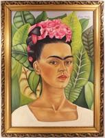Frida Kahlo Szignózott Keretezett Olajfestmény Vásznon!