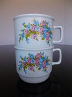 2 db Zsolnay porcelán rózsás, nefelejcses bögre