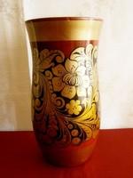 Régi orosz arannyal festett virág motívumos fa váza 20 cm magas