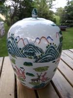 Antik  kínai vadász mintás porcelan  váza