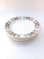 Gránit Kispest rózsás szélű virágos festett tányér - lapostányérok - 7 db