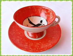 Gyűjtői kézzel festett kávés csésze szett