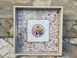 Keleti hangulat: Varázslatos Japán porcelán mozaik berakásos tálca