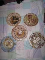 6 db mitológiai kerámia tál, tányér, 20 x 5,5 cm, nagyon ritka! M6 db