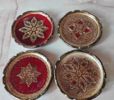 4 db  barokkos festett fa poháralátét, gazdag aranyozással