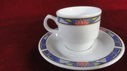 LILIEN  porcelán Ausztria. Modern kávéscsésze + alátét, kék szegéllyel.