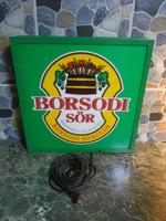 Retro Borsodi sör reklámlámpa neon díszvilágítás