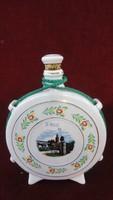 Hollóházi porcelán kulacs, Győr látképpel és nemzeti színű díszítéssel.