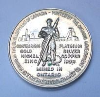 Kanada,Ontario bányászati emlékérem 1967.