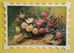 Rózsacsokor - KÜLÖNLEGES OLAJFESTMÉNY - Virágcsendélet