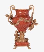 Barokk -Piros -puttós -angyalos porcelàn váza- bronz-porcelán
