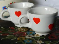 Régi kispesti gránit mokkás csésze 2 db, szívecskés, gyűjtői
