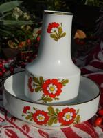 Retro virágos porcelán tál, kínáló és váza egyben