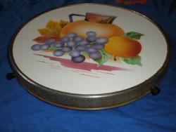 antik gyümölcsmintás fajansz kínáló edényalátét