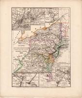 New York, Pensylvania, Maryland, New Yersey térkép 1850, eredeti, német, atlasz, 27 x 32 cm, Amerika