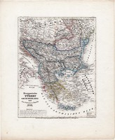 Európai Törökország, Görögország térkép 1850, eredeti, német, 27 x 32 cm, Balkán, Magyarország, régi